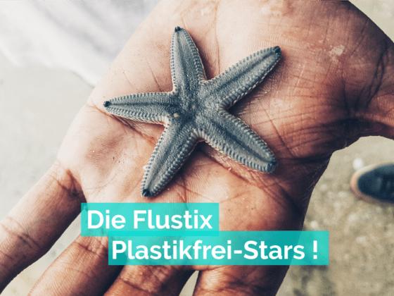 Ein Seestern wird von einer Hand gehalten, Titel: Die Flustix Plastikfrei-Stars