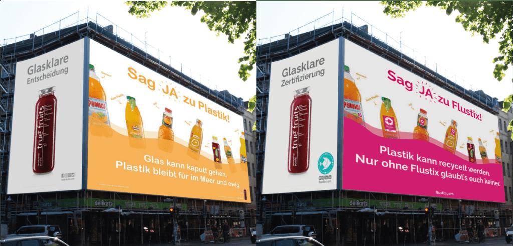 Plakat-Kampgane von True Fruits mit dem Slogan: Sag JA zu Plastik - Plastik bleibt für im Meer und ewig