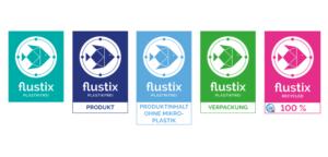 Flustix Siegel: Flustix Plastikfrei, Plastikfreies Produkt, Produktinhalt ohne Mikroplastik, Plastikfreie Verpackung und Flustix-Recycled, für Nachhaltigkeit am POS