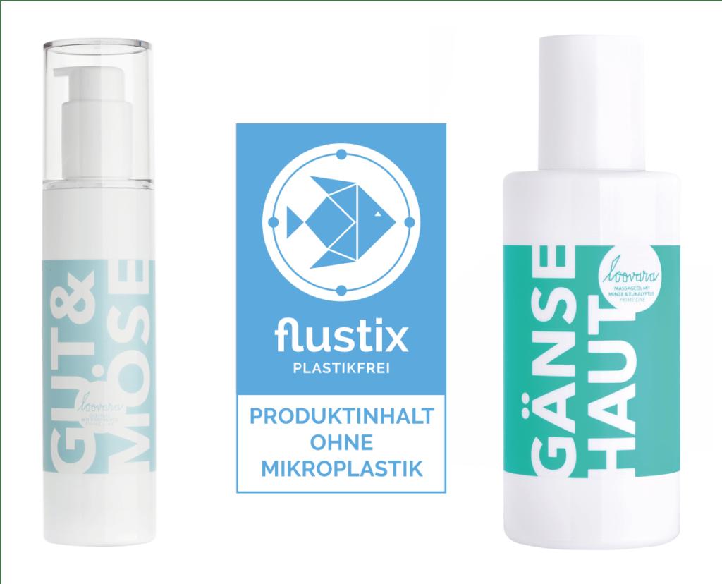 Gleitgel und Massageöl, Produkte der Prime Line von loovara, die von Flustix zertifiziert wurden und das Flustix Mikroplastikfrei-Siegel