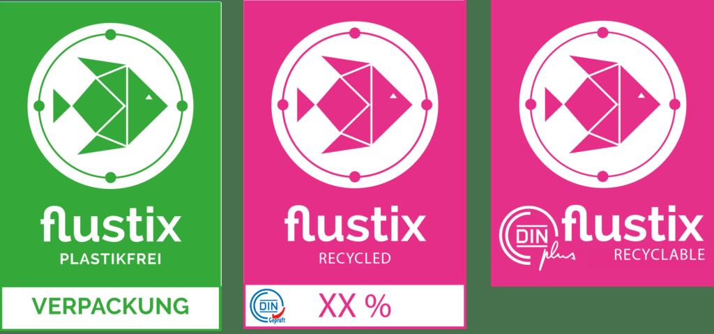flustix Siegel Plastikfrei Verpackung Recycled und Recyclable
