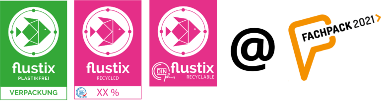 Logo flustix Plastikfreie Verpackung, Recycled und recyclable mit @ fachpack logo